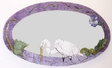 Egret and Waterlily Mosaic Wall Mirror